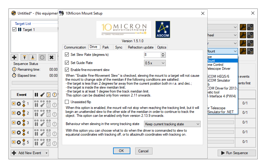 10Micron Mount ASCOM set up screen showing the different configurable options